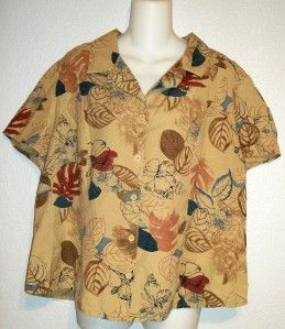 Norton McNaughton Woman Tan Leaf Pattern Linen Rayon Blouse Top Plus