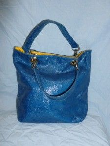 Maurizio Taiuti Blue Leather Bucket Bag Purse Tote Handbag