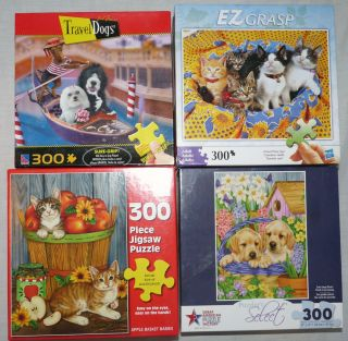 Lot 4 Dogs Cats Jigsaw Puzzles   300 EZ Hold Large Pieces by Great