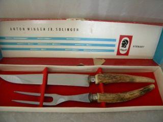Solingen Othello Handle Meat Carving Set Knife and Fork Set Germany