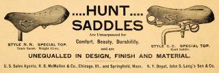 1894 Ad Hunt Saddles Bicycle Biker McMullen Bike Parts   ORIGINAL
