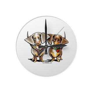 Dashing Dappled Dachshunds Wall Clocks