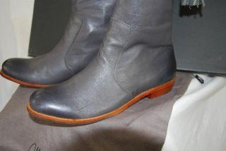 Womens 9 Mea Shadow Noa Tall Cuffed Leather Riding Boot w Tassel Zip