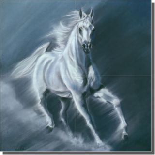 McElroy Horse Animal Accent Ceramic Tile Mural 4pc