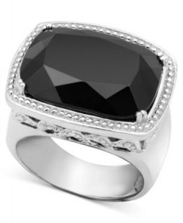 Effy Collection 18k Gold and Sterling Silver Ring, Onyx Oval (11 3/4