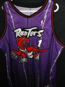 Men 60 Game Used Worn Vtg McGrady Authentic Champion Dino Raptors NBA