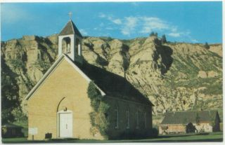 Medora ND Hiching Post St Marys Catholic Church Postcard North Dakota