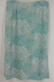 Maggie McNaughton Blue Paisley Floral Print Long Skirt Womens Plus