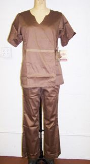 Dickies Medical Uniforms Stretch Sateen Brown Medium Fashion Scrub Set