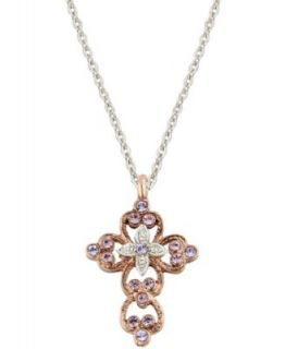 Vatican Necklace, Silver Tone Crystal Cross Pendant   Fashion Jewelry