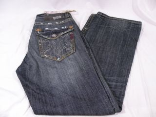 New MEK Denim Mens Mazatlan Bootcut Jeans Blue Sz 34x34