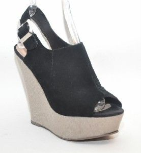 Steve Madden Wardenn Black Suede Wedge Platform Sandal Womens Shoes