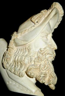 Antique Carved Meerschaum Pipe Head~Man W/Long Beard & Feather Hat~Vtg