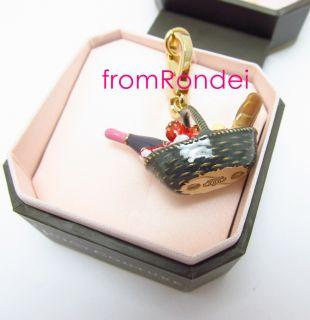 Authentic Juicy Couture Picnic Food Drink Basket Gold Bracelet Charm