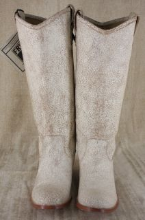 Frye Melissa Button Tall Crackled Leather White Button Boots Size 8 M