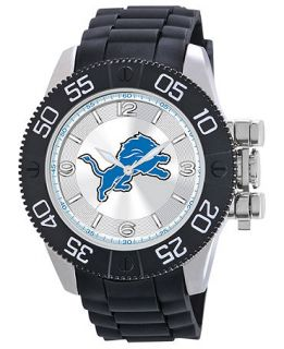 Game Time Watch, Mens Detroit Lions Black Polyurethane Strap 47mm NFL