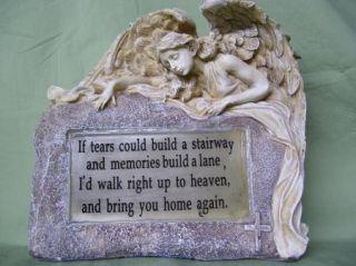 Solar Memorial Angel Stone Garden Cemetery Decor