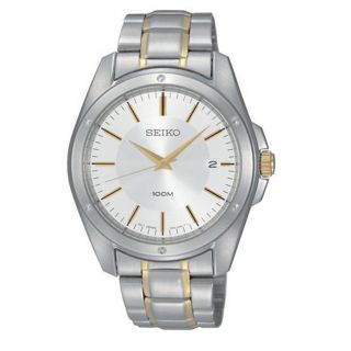 Mens Two Tone Silver Gold Stainless Steel Silver Dial Date Watch