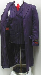 Mens Purple Dress Suit Includes Jacket, Pants, and Vest Long Jacket