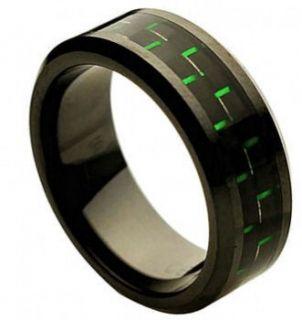 8mm Black Ceramic Ring Men Women Wedding Band w Black & Green Carbon