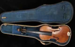 Antique Flamed German Stradivarius violin, case, post & bridge ~needs