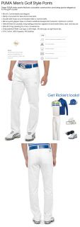 2012 Puma Mens Golf Style Pants Trousers White 34x32 Rickie Fowler