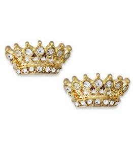 Juicy Couture Earrings, Gold Tone Glass Crown Stud Earrings
