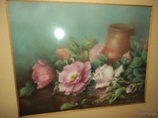 VINTAGE Victorian Style Pastel Painting of PINK & White ROSES Listed J