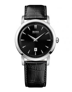 Hugo Boss Watch, Mens Ultra Slim Black Leather Strap 1512637   All