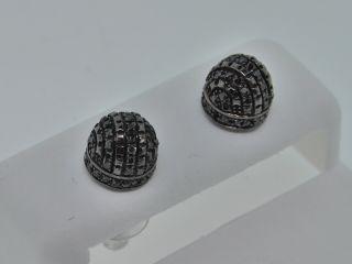 45c Mens Black Gold Finish Black Diamond Stud Earrings
