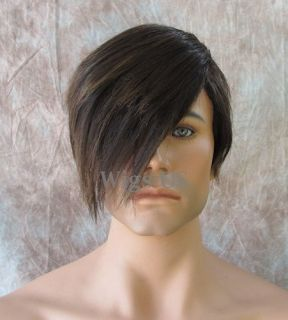 Mens WIGS SUPER HOT Brown & Strawberry Emo Style Long Bangs Short