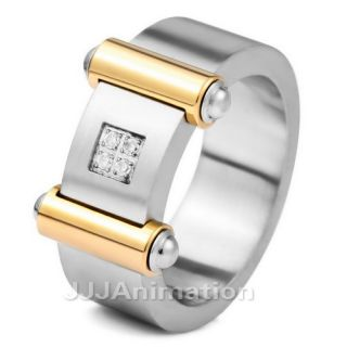 Mens Gold Stainless Steel Ring Wedding Band VE213