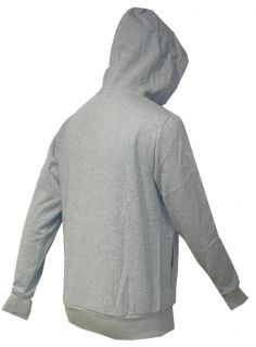 New Mens Sergio Tacchini Full Zip Grey Fleece Hood Top