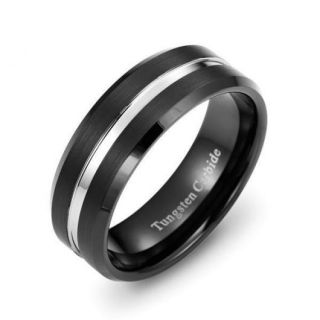Black Tungsten Carbide Ring Mens Beveled Comfort Fit Mans Band Sizes