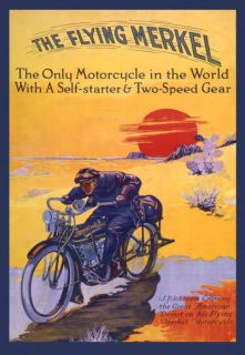 THE FLYING MERKEL BIKE Motorcycle Two Speed Large Vintage Poster Repro