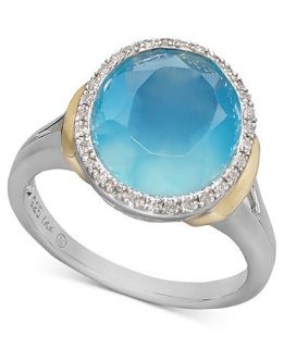 14k Gold and Sterling Silver Ring, Light Blue Agate (3 5/8 ct. t.w