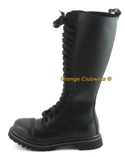 Demonia Mens Leather Steel Toe Knee High Combat Boots