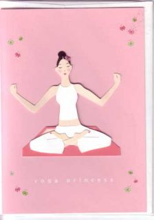Meri Meri Greeting Card Embellished Yoga Princess Pink