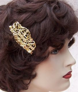 VINTAGE NEO BAROQUE STYLE CZECH GOLDTONE METAL HAIR COMB