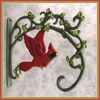 Red Cardinal Bird Cast Iron Wall Bracket Plant Hanger