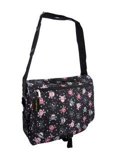 Black Pink White Skull Crossbones Messenger Bag