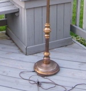 Vintage Brass Antique Victorian Floor Light Glass Lamp