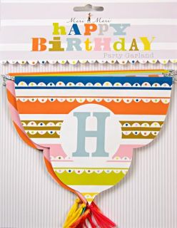Meri Meri Happy Birthday Party Paper Cups Plates Napkins Garland Hat