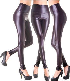 Metallic Sexy High Waisted Wet Leather Like Liquid Tregging Legging