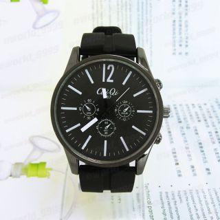 Rubber CaiQi Quartz Men Boys Sports Wrist Watch Large Face EM609W