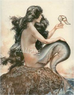 French Fantasy Mermaid w Shoe Canvas Art Deco Print