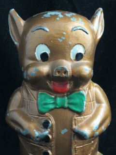 Porky Pig Cast Iron Bank w Key First National Miamisburg Oh E3D