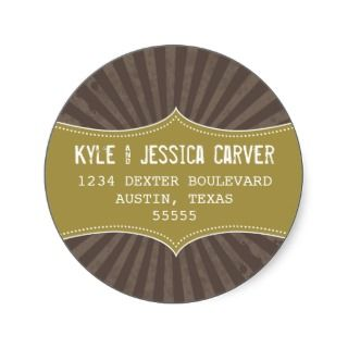 Vintage Grunge Return Address Label Template Round Sticker