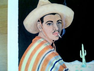 Two 1920s Paintings Mexican Man Woman by Hyson Kaiser