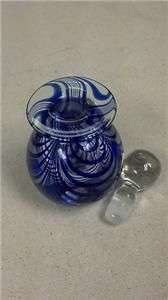 of Art Blown Glass Blue Swirl Perfume Bottle in Good Shape